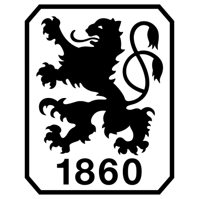 Logo of TSV 1860 München - a black lion crest on white background in a rectangle with a black framing