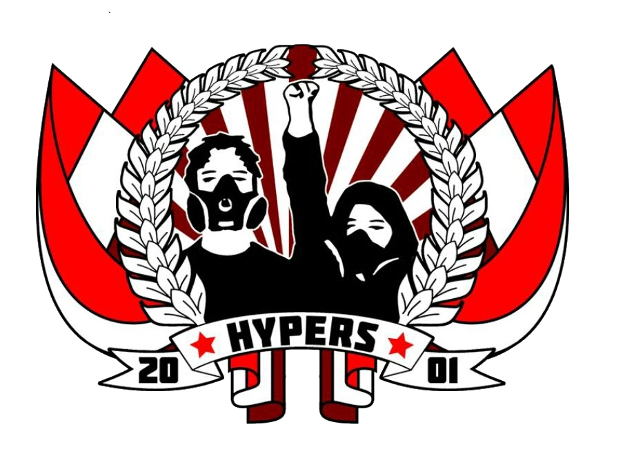 Logo of the fan group Hypers 2001 - red and white flags framing a bay wreath within which there are two supporters with raised fists in black and white. Underneath a name-tape with the group name written on it.
