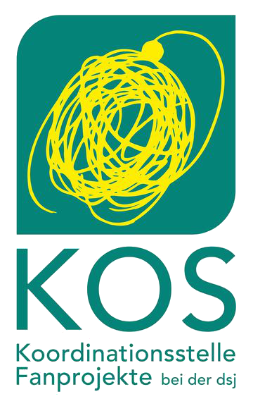 Logo of the Coordinating Centre at the dsj (KOS) - scribbled circle on green square background. Underneath the name of the KOS in green font.