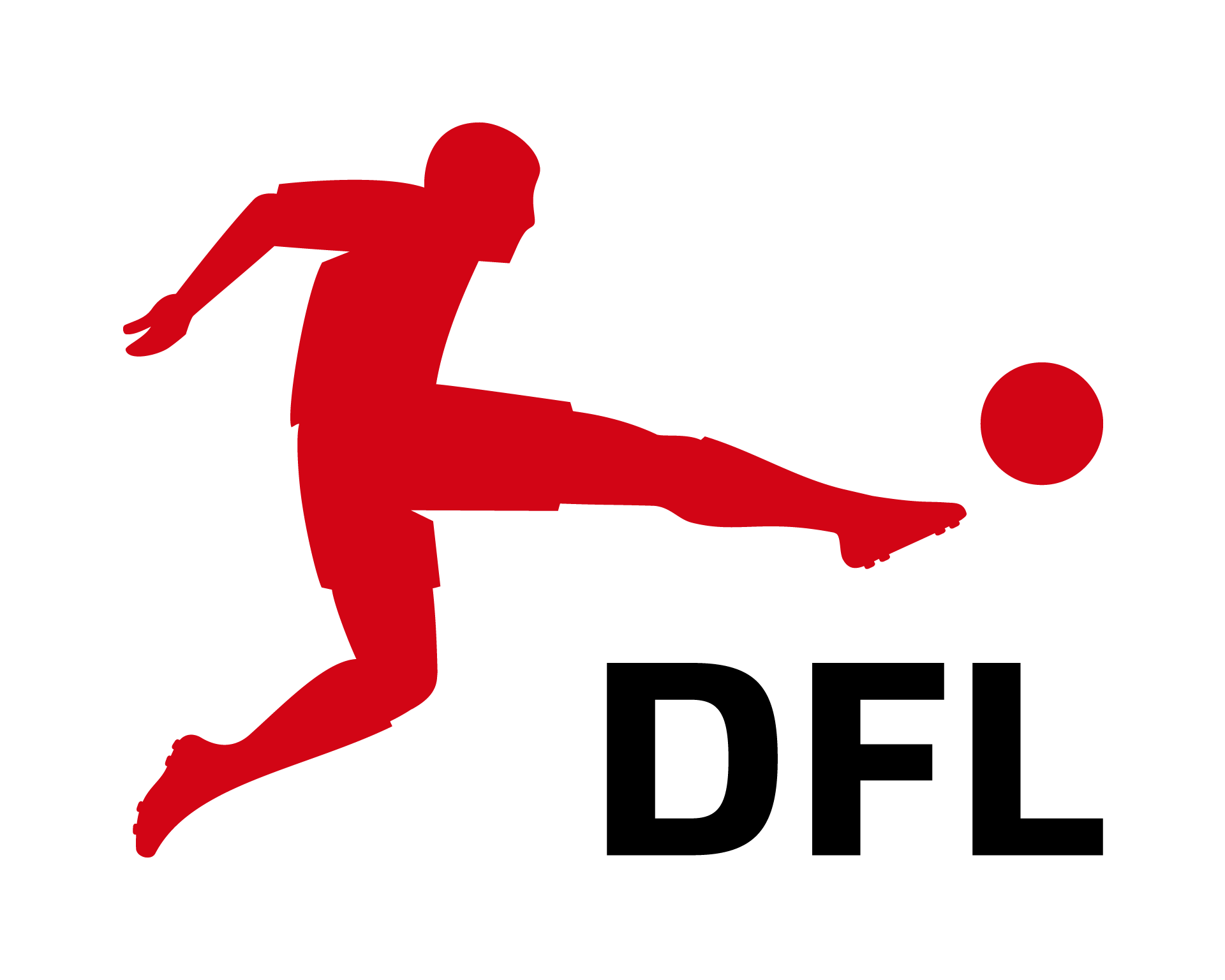 Logo of the German Football League(DFL) - red Silhouette of a football player kicking a ball. Underneath the stretched foot the name DFL