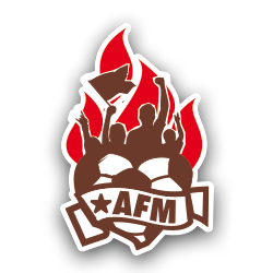 Logo of the Department of Supporting Members (AFM) at FC St Pauli - Silhouettes of four supporters with raised arms and a flag above a heart-shaped football. Underneath a name-tape with the   von vier Fans mit erhobenen Armen und Fahne über einem Fußball in Herzform in brown and white. Darunter eine Binde mit dem Schriftzug AFM - FC St Pauli Homegrown