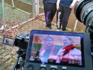 Camera recording two women