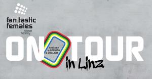 Fan.Tastic Females On Tour Flyer - grauer Betonhintergrund, im Vordergrund das Projektlogo oben links und der weiße Schriftzug