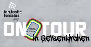 Fan.Tastic Females On Tour Flyer - weiße Schrift auf grauem Betonhintergrund mit dem Text